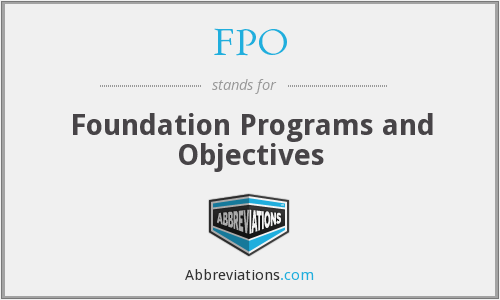 FPO - Foundation Programs and Objectives