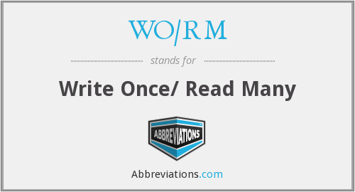 WO/RM - Write Once/ Read Many