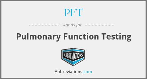 PFT - Pulmonary Function Testing