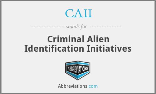 CAII - Criminal Alien Identification Initiatives