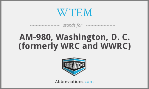 WTEM - AM-980, Washington, D. C. (formerly WRC and WWRC)
