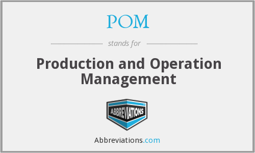 POM - Production and Operation Management