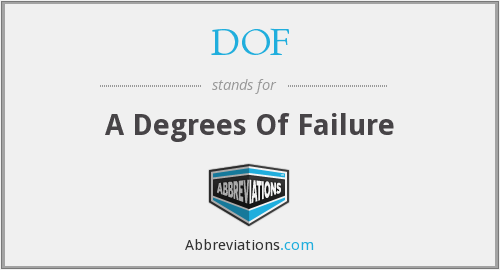 DOF - A Degrees Of Failure