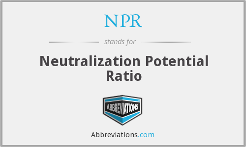 NPR - Neutralization Potential Ratio