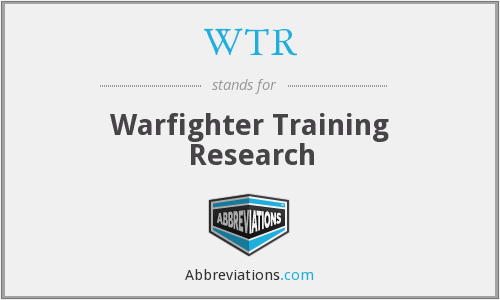 WTR - Warfighter Training Research