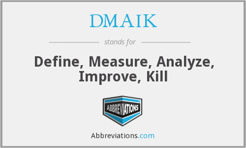 DMAIK - Define, Measure, Analyze, Improve, Kill