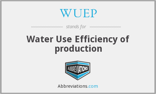 WUEP - Water Use Efficiency of production