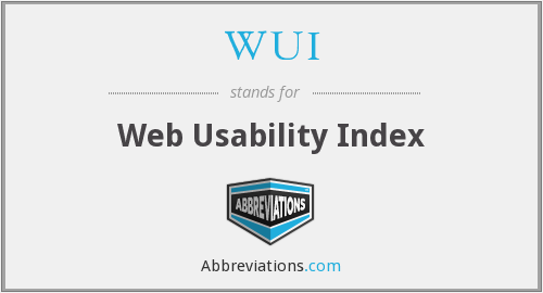 WUI - Web Usability Index