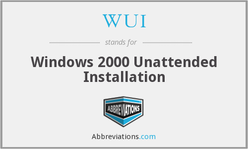 WUI - Windows 2000 Unattended Installation