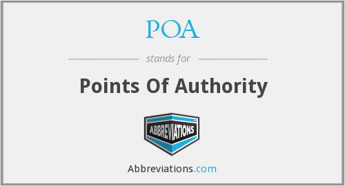 POA - Points Of Authority