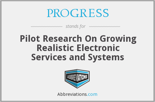 PROGRESS - Pilot Research On Growing Realistic Electronic Services and Systems