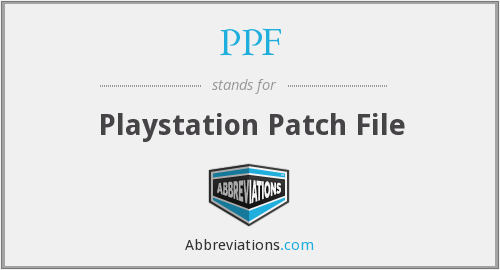 PPF - Playstation Patch File