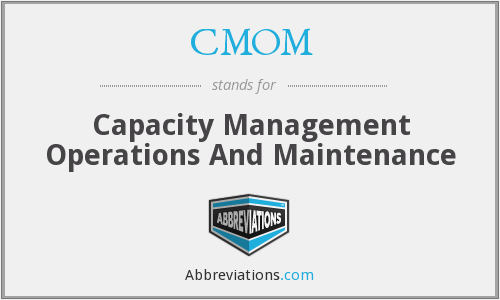 CMOM - Capacity Management Operations And Maintenance