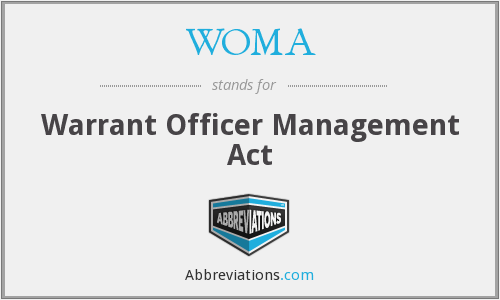 WOMA - Warrant Officer Management Act