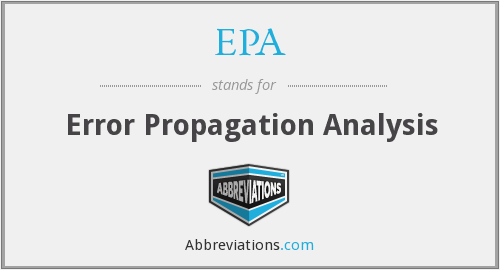 EPA - Error Propagation Analysis