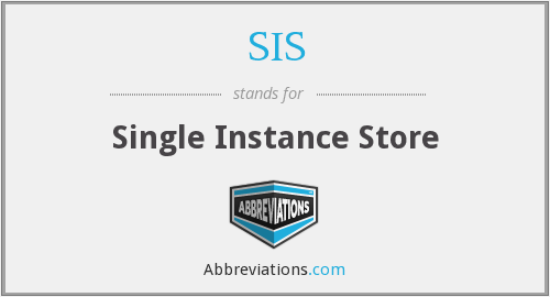 SIS - Single Instance Store