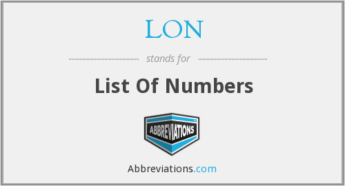 LON - List Of Numbers