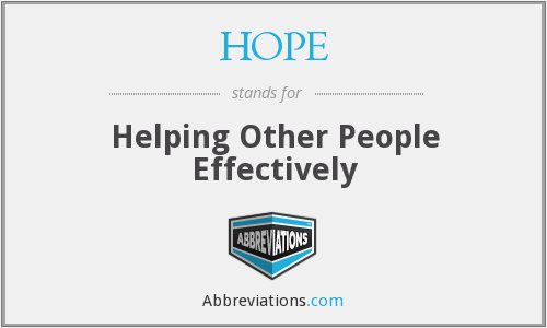 HOPE - Helping Other People Effectively