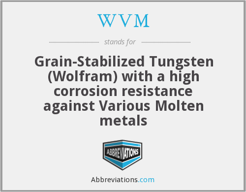 WVM - Grain-Stabilized Tungsten (Wolfram) with a high corrosion resistance against Various Molten metals