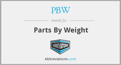 PBW - Parts By Weight