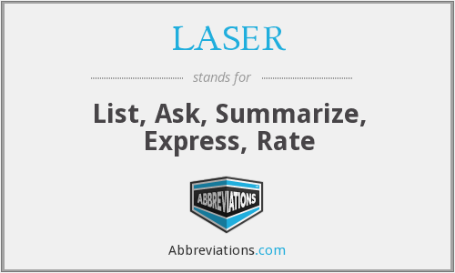 LASER - List, Ask, Summarize, Express, Rate