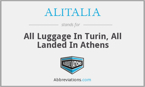 ALITALIA - All Luggage In Turin, All Landed In Athens