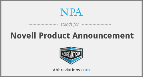 NPA - Novell Product Announcement