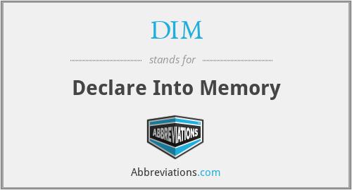 DIM - Declare Into Memory
