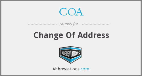 COA - Change Of Address