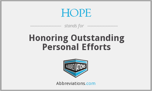 HOPE - Honoring Outstanding Personal Efforts