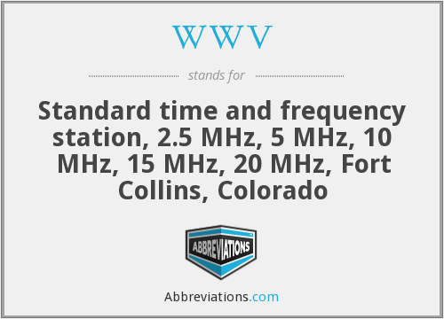 WWV - Standard time and frequency station, 2.5 MHz, 5 MHz, 10 MHz, 15 MHz, 20 MHz, Fort Collins, Colorado