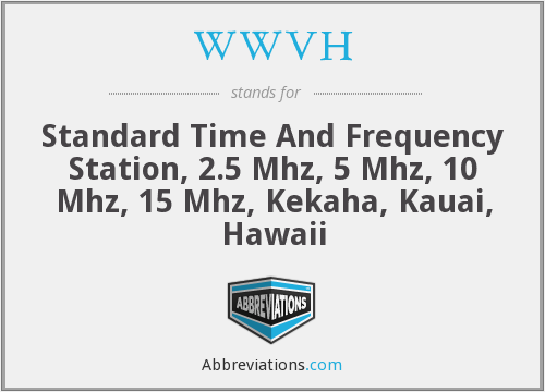 WWVH - Standard Time And Frequency Station, 2.5 Mhz, 5 Mhz, 10 Mhz, 15 Mhz, Kekaha, Kauai, Hawaii