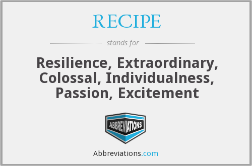 RECIPE - Resilience, Extraordinary, Colossal, Individualness, Passion, Excitement
