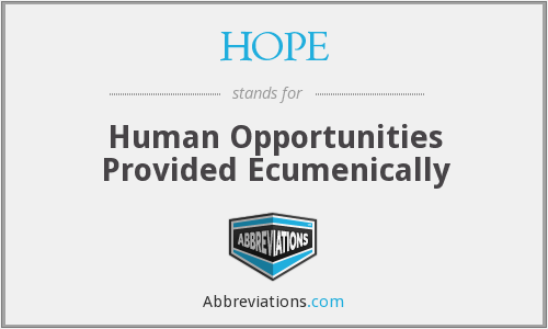 HOPE - Human Opportunities Provided Ecumenically