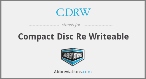 CDRW - Compact Disc Re Writeable