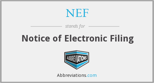 NEF - Notice Of Electronic Filing