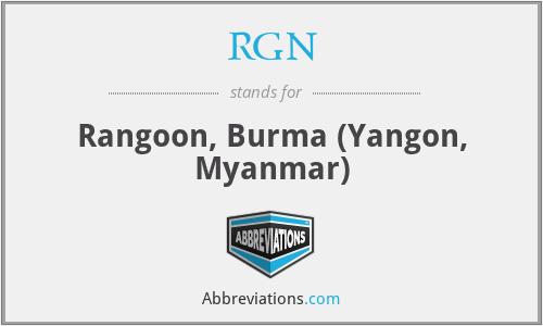 RGN - Rangoon, Burma (Yangon, Myanmar)