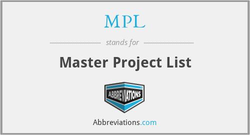 MPL - Master Project List