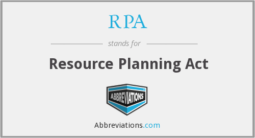RPA - Resource Planning Act