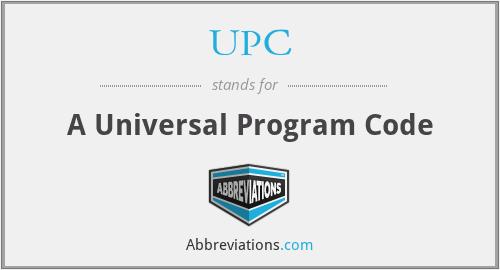 UPC - A Universal Program Code