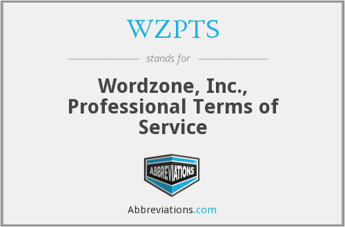 WZPTS - Wordzone, Inc., Professional Terms of Service