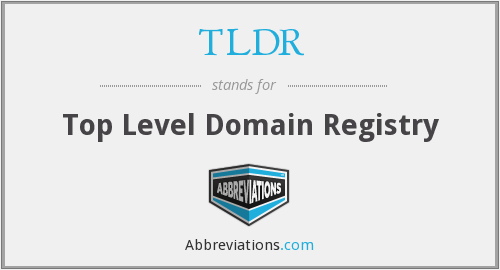 TLDR - Top Level Domain Registry