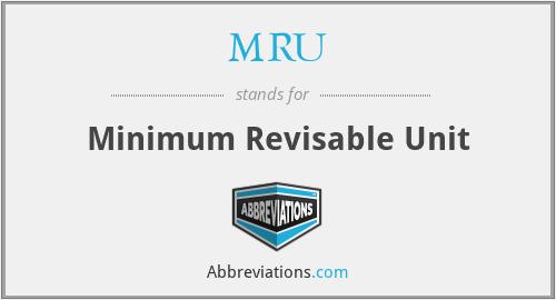 MRU - Minimum Revisable Unit
