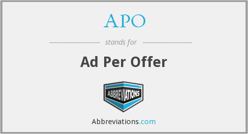 APO - Ad Per Offer