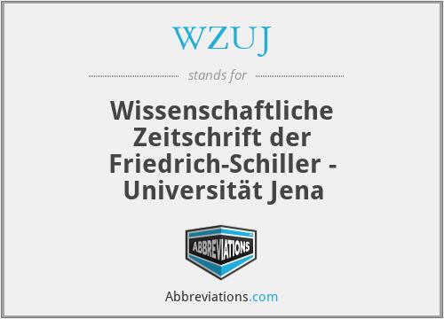 WZUJ - Wissenschaftliche Zeitschrift der Friedrich-Schiller - Universität Jena