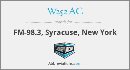 W252AC - FM-98.3, Syracuse, New York