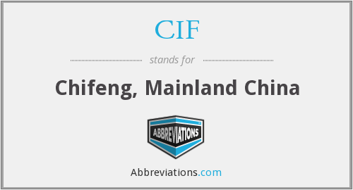 CIF - Chifeng, Mainland China