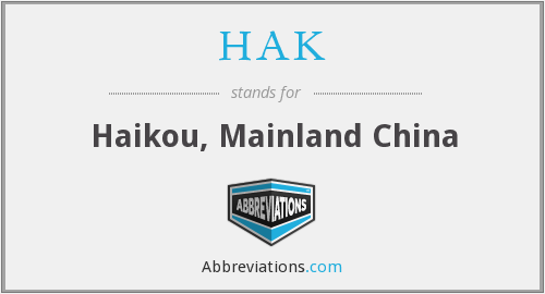HAK - Haikou, Mainland China