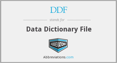 DDF - Data Dictionary File