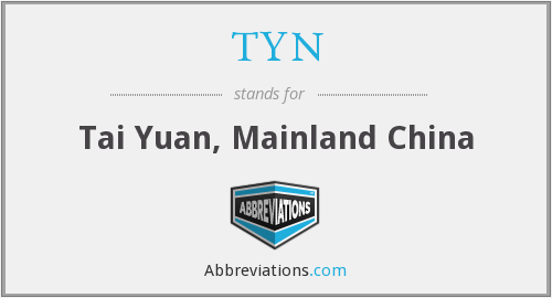 TYN - Tai Yuan, Mainland China